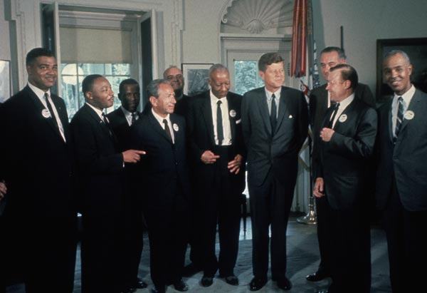 Civil rights leaders meet with President Kennedy and Vice President Johnson.