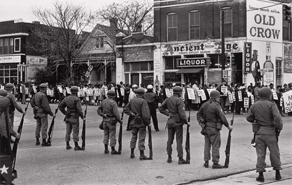 Sanitation workers from Memphis march.