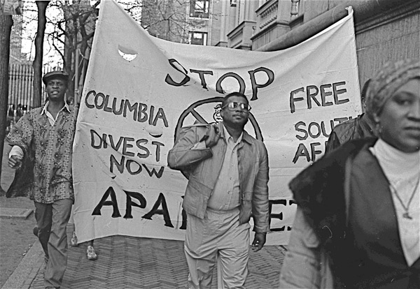 Protest at Columbia University, 1985.