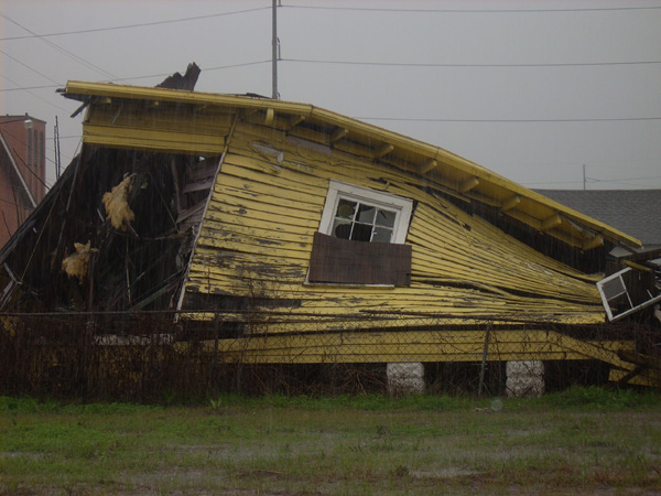 A house in the Lower 9th Ward of New Orleans in the aftermath of Hurricane Katrina.