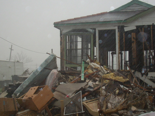 Damage done by Hurricane Katrina in the lower 9th Ward.