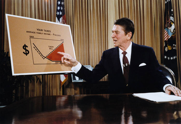 Reagan gives a televised address, July 1981.