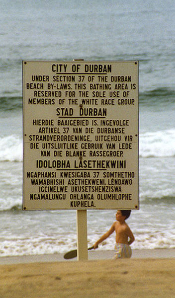 Sign in Durban that states the beach is for whites only under South African apartheid laws.